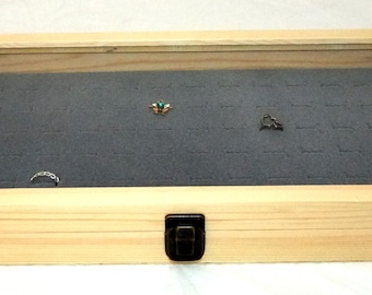 Brass Cornered Natural Wood Display Case With Gray 72 Ring Insert