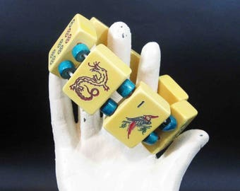 Vintage Mahjong Game Tile Stretch Bracelet with Green Accent Beads.
