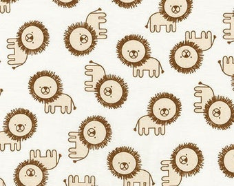 Robert Kaufman Fabric Penned Pals Lions in Tan by Ann Kelle, Choose your cut