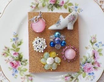 Colorful Vintage Jewelry, Miniature Shoe Thumbtacks / Push Pins / Thumb Tacks, Garden, Home Office, Bulletin Board Bling, Rhinestones