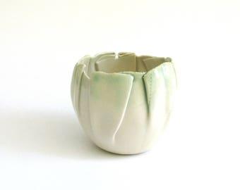hand built porcelain mini balloon bowls  ...   creamy white and green
