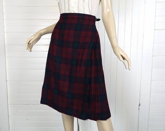 Scottish Kilt in Burgundy, Green, & Navy Blue Tartan Plaid- 1980s / 80s Pleated Wrap Skirt - Preppy Autumn / Fall / Holiday- Wool- Medium