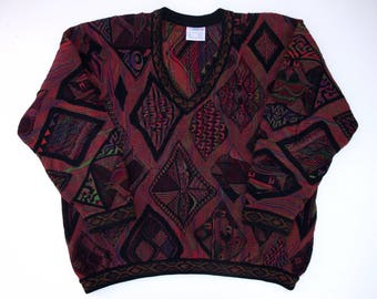 COOGI Australia Mens XL Special Price Sweater Long Sleeve V Neck Long Sleeve Dark Colors 3D Roomy Ex Large BLACK Colorful Pullover Cotton