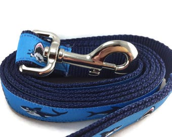 Dog Leash, Sharks, lead, 1 inch wide, 1 foot, 4 foot, or 6 foot