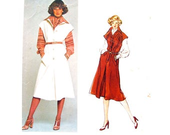 70s Jumper & Blouse Pattern Vogue 1307 Inverted Pleat Designer Galitzine Womens Size 10 Vintage Sewing Pattern