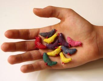 5 tiny birds.  Miniature birds .A set of 5 birds. Ready to ship