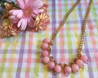 Pink and Gold Necklace/ Pastel/ Girl Pink Necklace/ Shiny