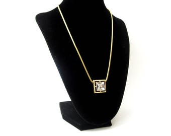 1970's Avon Signed Glitzy Vintage Gold Tone Metal Snake Chain & Faceted Square Clear Glass Rhinestone Pendant Necklace