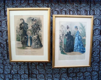 Antique 1800s French & Spanish Fashion Plates Pair of 2 Framed Matted Under Glass