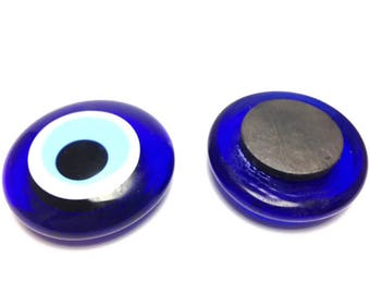 Glass Evil eye fridge Magnet - 4 cm - dark blue - Greek amulet - Protection - Home decoration - Greece Lucky charm