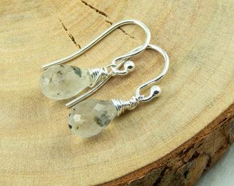 Tourmaline Earrings,Black Rutilated Quartz,Quartz Earrings,Wire Wrapped Earrings,Sterling Silver,Gemstone Earrings,Gemstone Jewelry