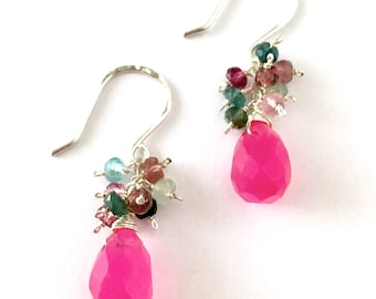 Pink Jade Earrings with Faceted Watermelon Tourmaline. Sterling Silver Fuchsia Earrings. Valentines Day Earrings