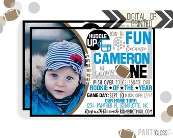 Football Birthday Invitation | Digital or Printed | Football Invitation | Rookie Year Invitation |  Rookie Invite | Carolina Football |