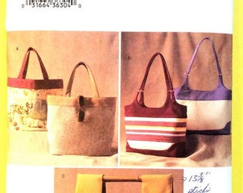 ON SALE Butterick  3799 HandBag Purse Tote Hand Bag Large Bags Sewing Pattern
