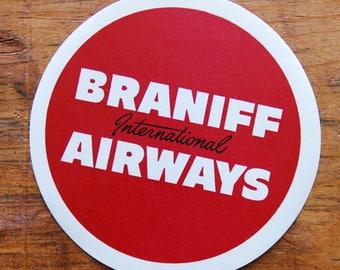 Vintage Braniff International Airways Travel Decal Gummed Sticker