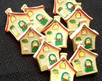 STORE CLOSING - See Shop Announcement for 60% off code - Christmas House Buttons - 1 inch - You Pick Quantity from 5 to 145