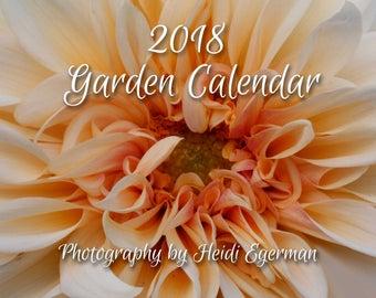 Flower Garden Calendar, 2018 Garden Calendar, Full -Color 12-Month Calendar, Floral Images, Gift Box Instructions