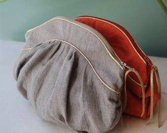 Worn grey linen hand bag