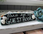 Beach Wedding Guestbook , Free standing Driftwood sign  , Beach Wedding Decoration , Nautical Reception Decor , Seaglass Wedding