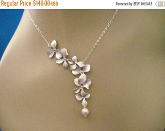 ON SALE Wedding Necklace Bridesmaid Jewelry Set of 5 Silver Orchid Necklaces Heather