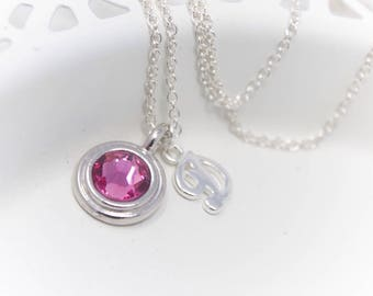 October Birthstone Necklace, Rose Crystal Necklace with Sterling Silver Initial Choice of Color