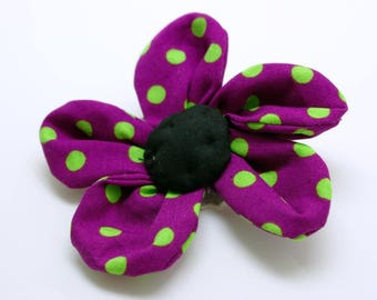 Purple flower with green polka dots, PIN or barrette