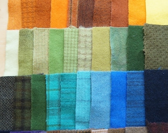 SALE Hand Dyed Felted Wool Scrap Bundle 1293 perfect for Rug Hooking, Applique, Quilting, and Sewing by Quilting Acres