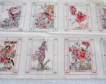 Flower Fairy Cicely Mary Barker Fabric Panel/Flower Fairies/Panel with 8 Flower Fairies/Quilting Fabric/Sewing for Little Girls Fabric