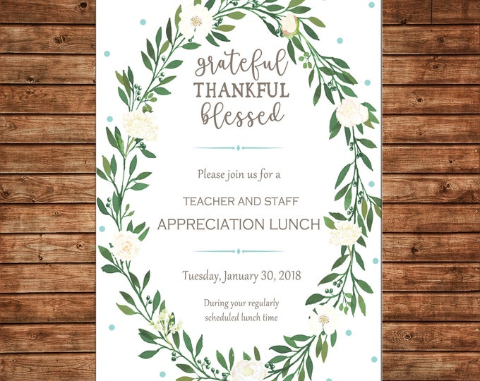 Watercolor Greenery Wreath Invitation Shower Dinner Luncheon Birthday - Can personalize colors /wording - Printable File or Printed Cards