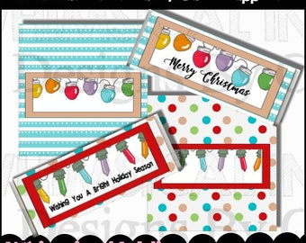 Christmas Lights Candy Bar Wrappers  - Digital Printable - Immediate Download