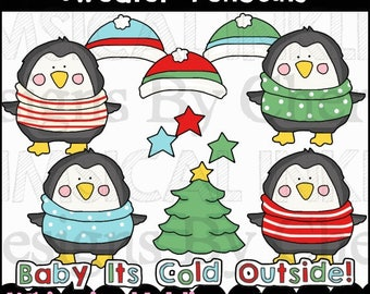Sweater Penguins Clipart Collection- Immediate Download