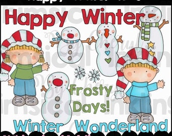 Happy Winter Kids Clipart Collection- Immediate Download