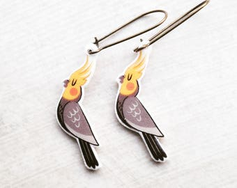 Handmade Illustrated Cockatiel - Parrot - Bird - Dangle - Drop - Earrings