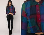 Plaid Blouse 90s CROP TOP Checkered Shirt Button Up Shirt Blue Red 1990s Long Sleeve Vintage Hipster Retro Small Medium