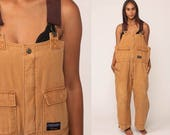 Overalls Baggy Pants Cargo Dungarees Light Brown Suspender Pants 90s Long Wide Leg Jeans Bib Workwear Lined Vintage Large