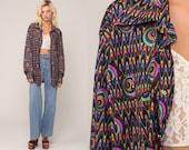 Psychedelic Shirt 90s LEVIS Shirt Silvertab Disco Top Bohemian Shirt Neon Acid 1990s Hippie Long Sleeve Button Up Boho Retro Large