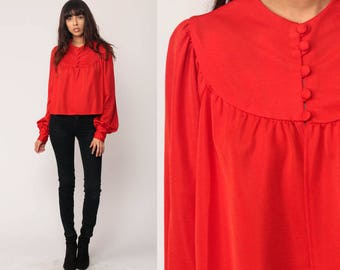 Red Blouse Puff Sleeve Shirt TRAPEZE Top FRONT SLIT Button Up 70s Babydoll Top Boho Hippie Disco Vintage 1970s Long Sleeve Large