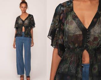 Boho Blouse Sheer Top Black FLORAL Shirt  70s Bohemian Top Flutter Sleeve Shirt 1970s Button Up Festival Seventies Small Medium