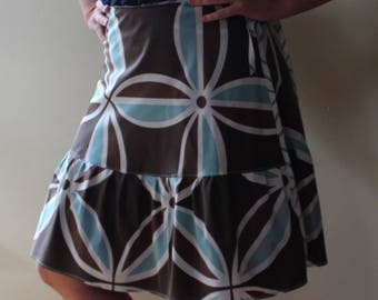 Wrap Skirt (one size fits most small - large) brown aqua floral
