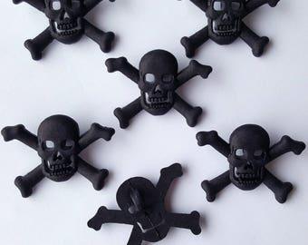 BLACK Skull & Crossbones - Pirate Punk Tattoo Halloween Dress It Up Craft Buttons