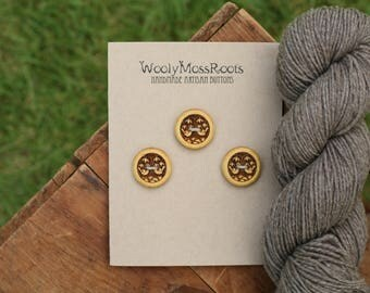 3 Wood Bird Buttons- Yellowheart Wood- Wooden Buttons- Eco Craft Supplies, Eco Knitting Supplies, Eco Sewing Supplies