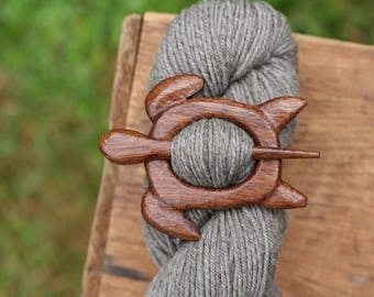 Mahogany Turtle Shawl Pin - Handmade Wooden Shawl Pin -Wood Shawl Pin- Eco Knitting Supplies
