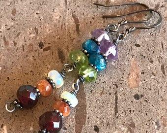 Multi Color Earrings, Rainbow Earrings, Long Dangle Earrings, Pride Earrings, Garnet, Opal, Amethyst, Apatite, Peridot, Sunstone Earrings