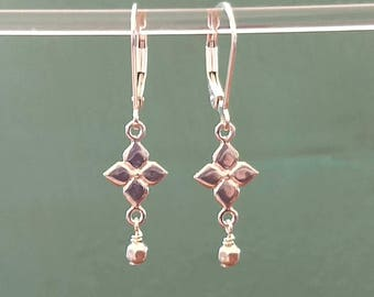 Dainty Silver Dangle Earrings Sterling Silver Leverback Earrings Small Drop Earrings Everyday Jewelry Minimal Simple Earrings Gift for Her