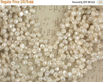 """ON SALE Iridescent White Keishi Pearls Plump Top Drilled 15"""" strand (4130)"""