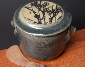 Stoneware French Butter Crock With Clay Knife ~ Wild Weed Design ~