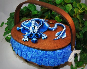 Ooak Polymer Clay Blue Sad Little Dragon on Basket Purse / Box #04 Fashion Accessories  Fantasy Home Decor Storage