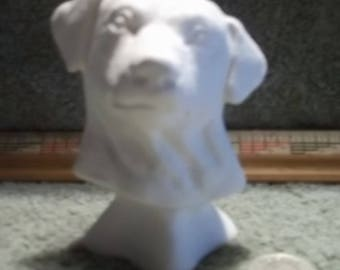 Labrador Retriever Dog Bust in Ceramic Bisque - Ready to Paint Labs Dogs