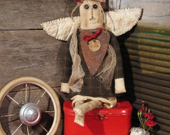"Extreme Primitive Angel of ""Joy"" Handcrafted Doll - Primitive Doll, Primitive Decor"