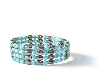 Black and Turquoise High Power Magnetic Wrap Bracelet